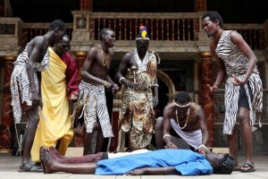 A scene from Cymbeline, performed by South Sudanese Theatre Company at Shakespera Globe (Photo: Ellie Kurtlz)